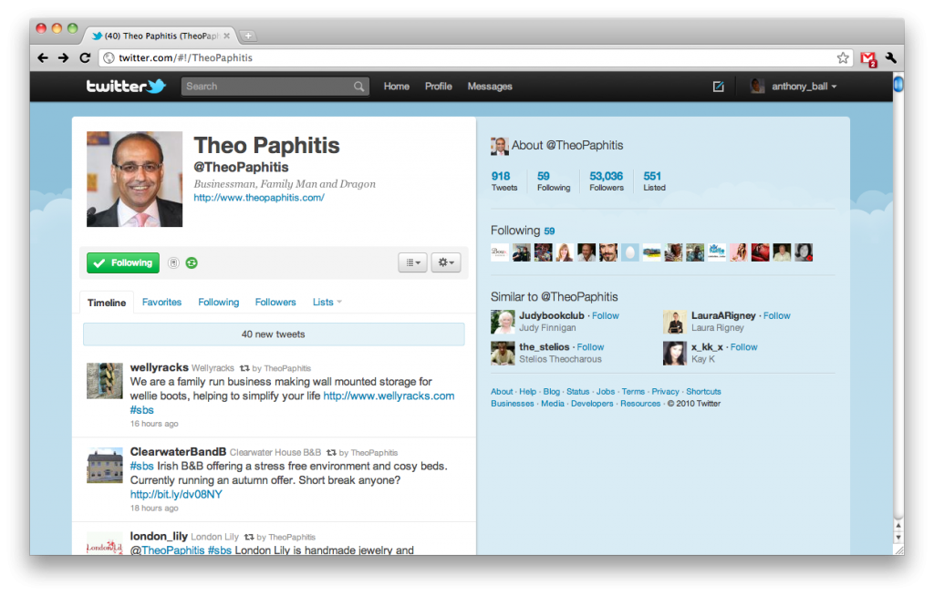 Theo Paphitis Twitter Page