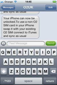Unlocking SMS from o2 for an iPhone