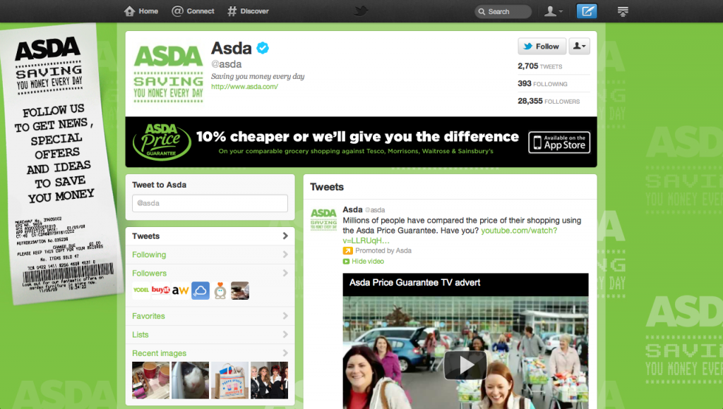 A screenshot of the current Asda Twitter UK brand page