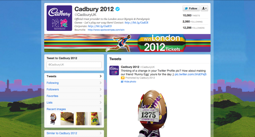 A screenshot of the current Cadbury Twitter UK brand page