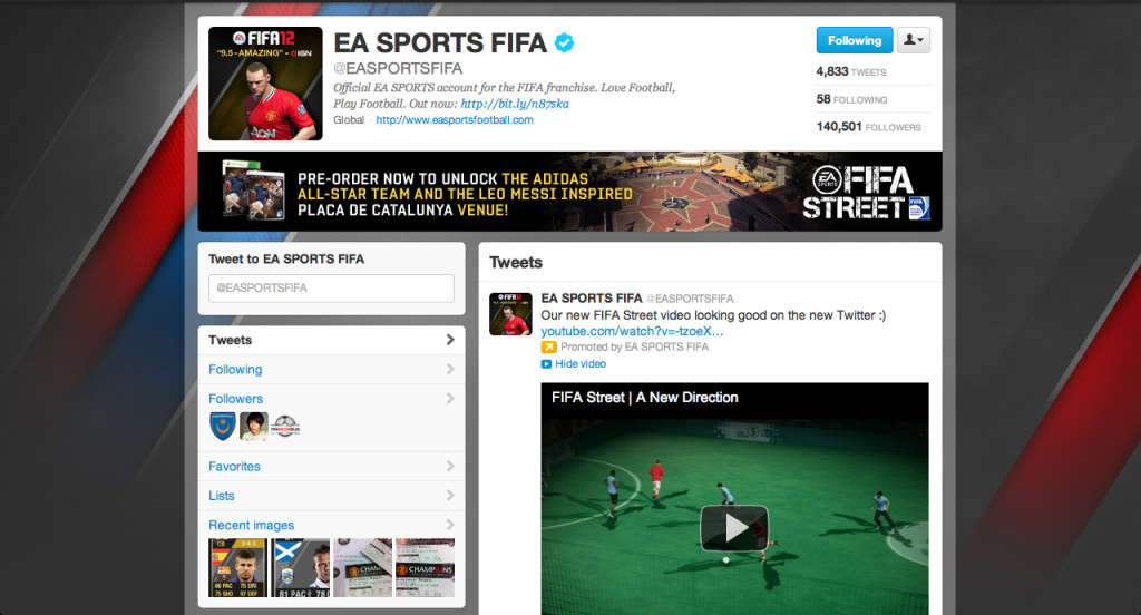 A screenshot of the current EA Sports FIFA Twitter UK brand page