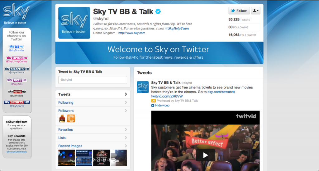 A screenshot of the current Sky HD Twitter UK brand page