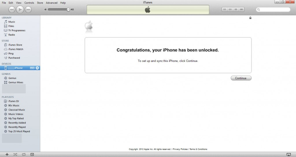 iTunes message showing that the iPhone has been unlocked.